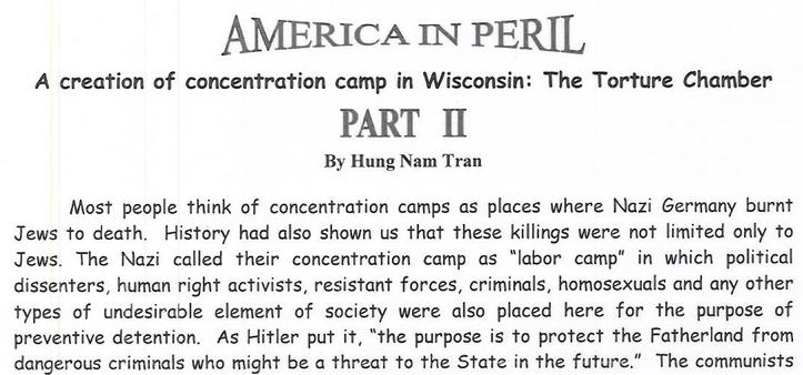 American in Peril: A creation of concentration camp in Wisconsin: The Torture Chamber. Part II
