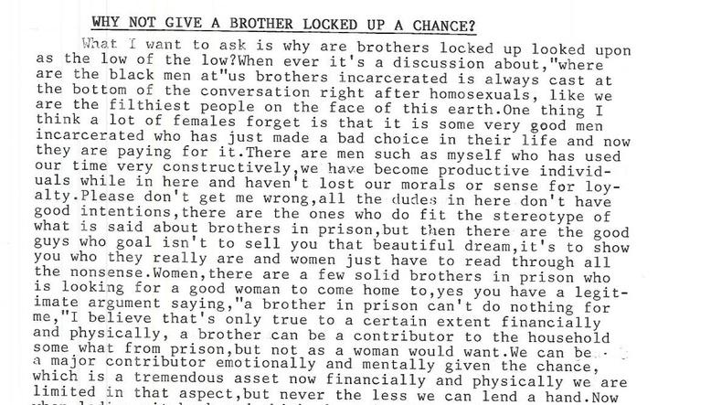 Why Not Give a Brother Locked Up a Chance?