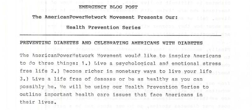 Emergency Blog Post: The AmericanPowerNetwork Movement Presents Our: Health Prevention Series