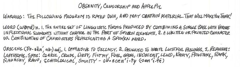 Obscenity, Censorship, and Apple Pie