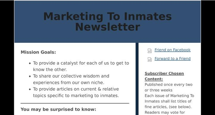 Marketing To Inmates Newsletter