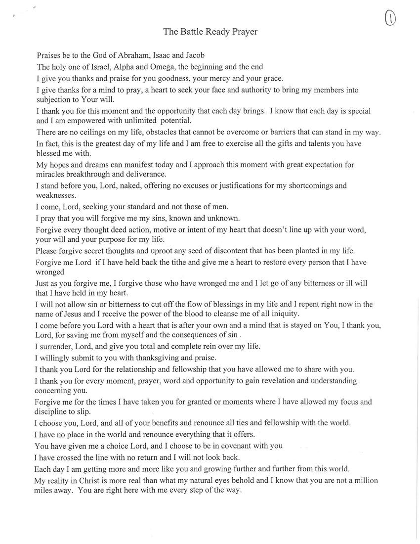 the battle ready prayer pdf
