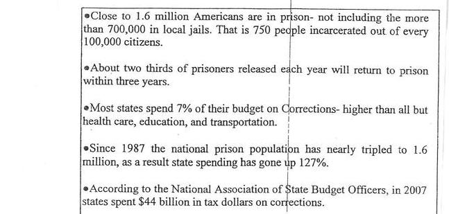 Recent Prison Related Statistics
