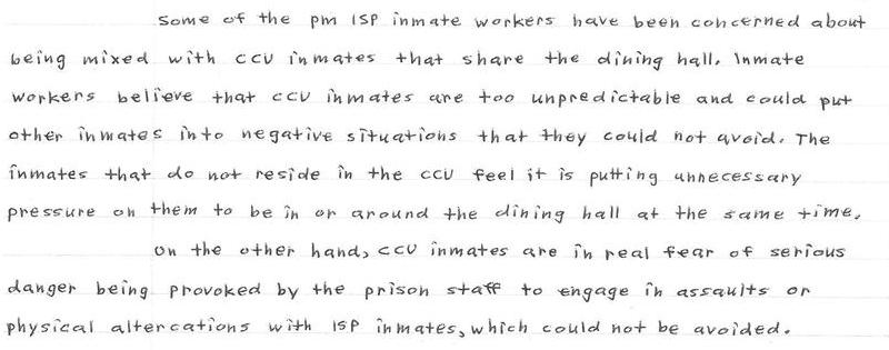 Integrating ISp Inmates With THose Of CCU Is Not Proper