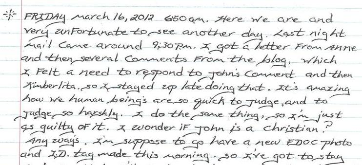 Daily Journal 3/16/12 to 3/18/12