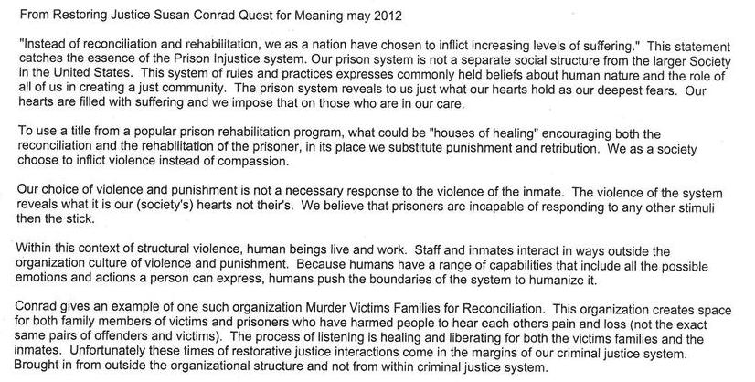 From Restoring Justice Susan Conrad Quest for Meaning, May, 2012