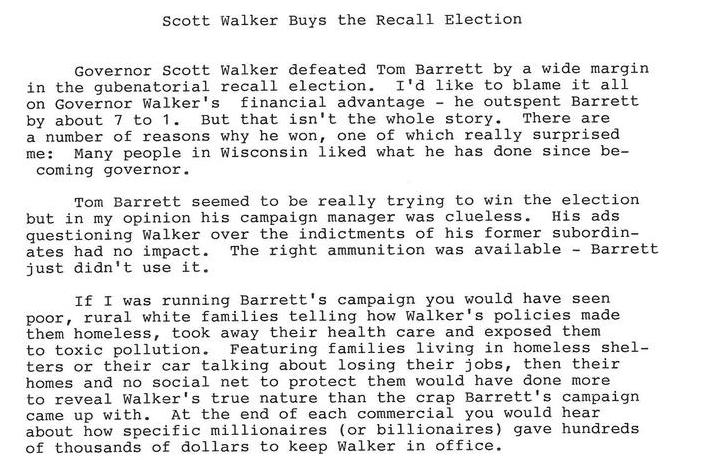 Scott Walker Buys the Recall Election