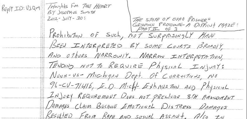 Comment Response: The State Of Ohio Prisoners