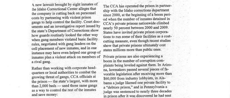 Private Prison Company Allegedly Used Violent Gangs to Save Money