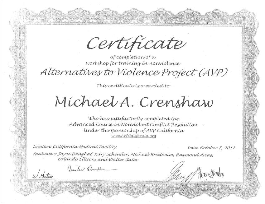 Between the Bars : Certificate Of Completions — Michael Crenshaw