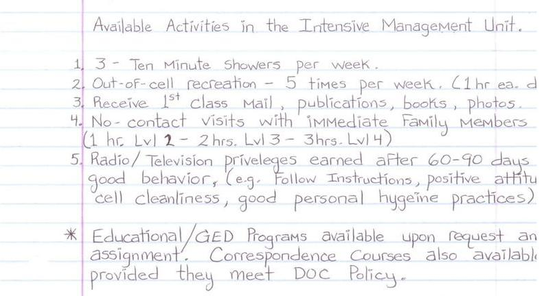 Available Activities in the Intensive Management Unit