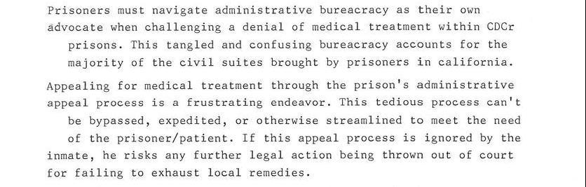 Perspective From A California Prisoner About Medical Treatment And Bureacracy