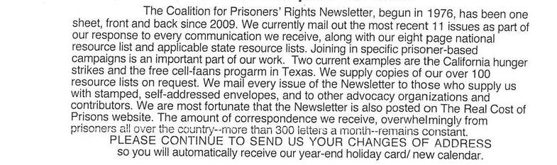 About The Coalition For Prisoners' Rights