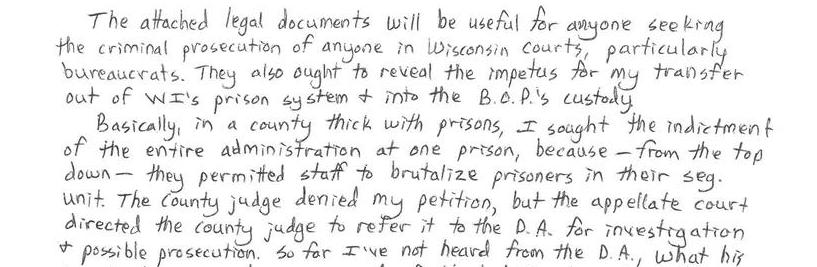 My Petition To Indict Wisconsin Prison Staff For Their