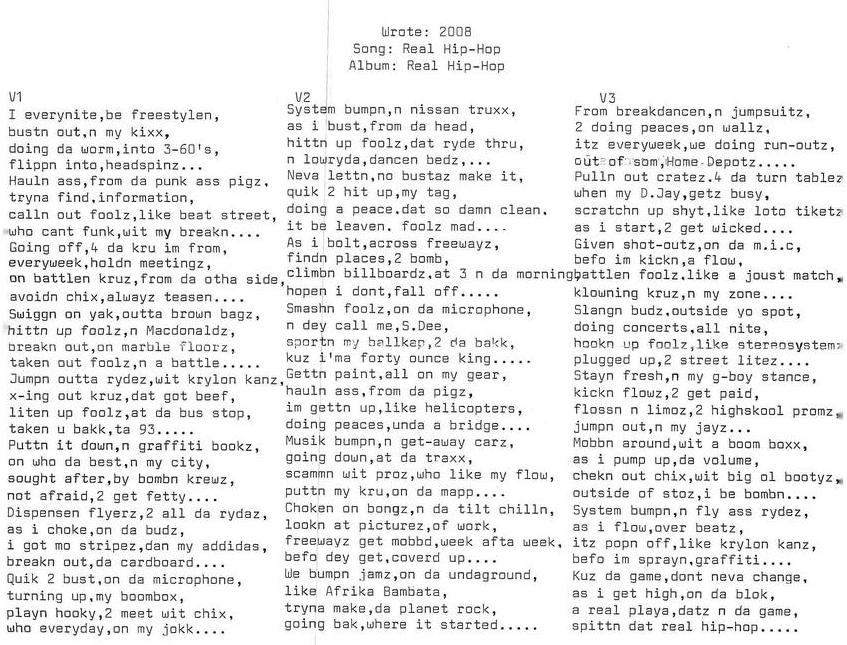 Song: Real Hip-Hop