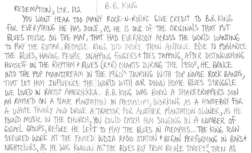 Redemption, Ltr 112: B.B. King