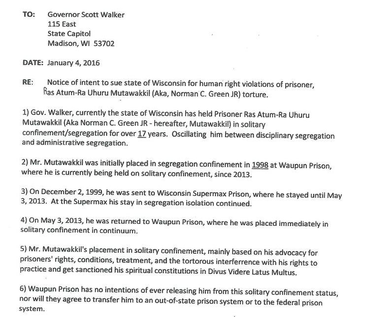 Notice of intent to sue state of Wisconsin for human rights violations of prisoner