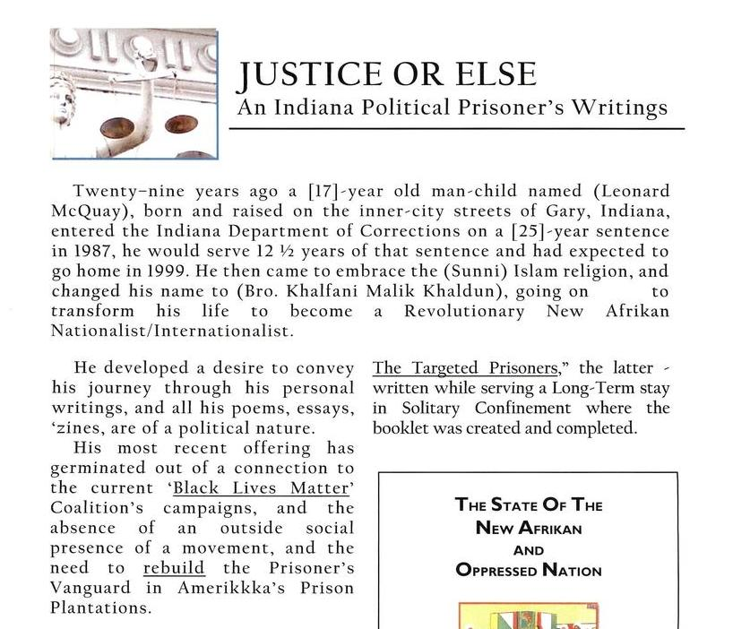 Justice Or Else: An Indiana Political Prisoner's Writings