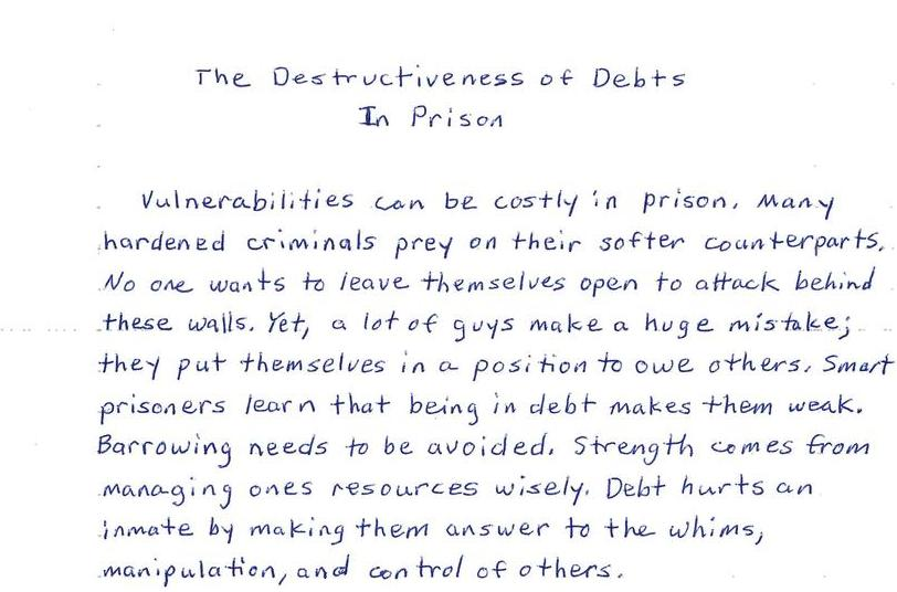 The Destructiveness of Debts in Prison