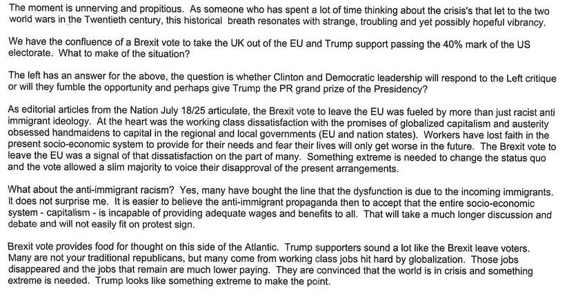 Trump, Brexit, and the Left's Response