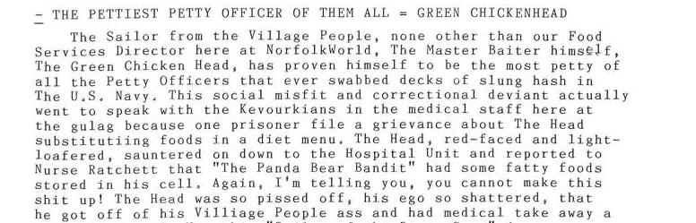 The Pettiest Officer Of Them All = Green Chickenhead