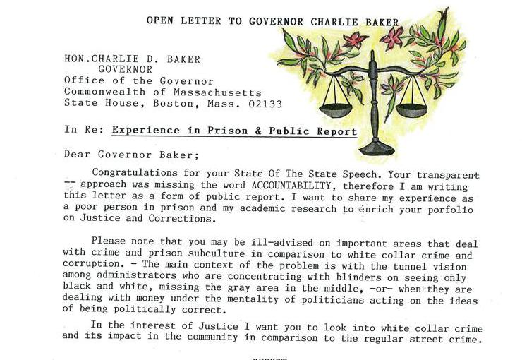 Open Letter to Governor Charlie Baker