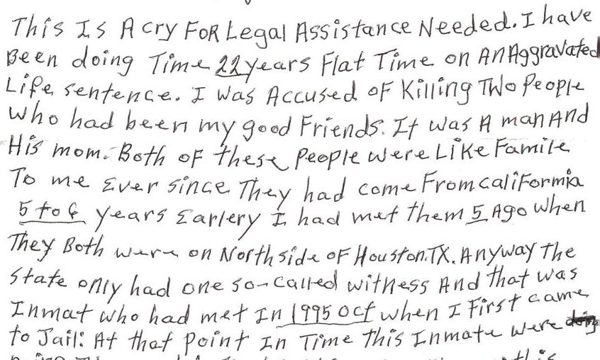 A cry for legal assistance