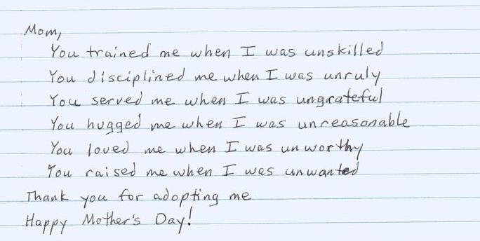 To an Adopted Mother