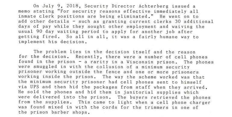 You're Fired! SCI Security Director Eliminates All Clerk Positions