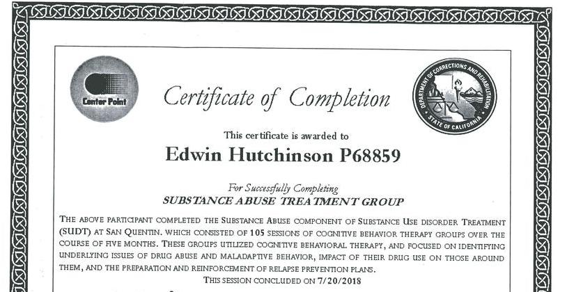 Certificate of Completion of Substance Abuse Treatment Group