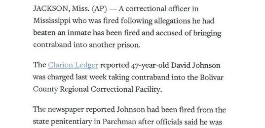 Prison Guard In Mississippi Fired A Second Time