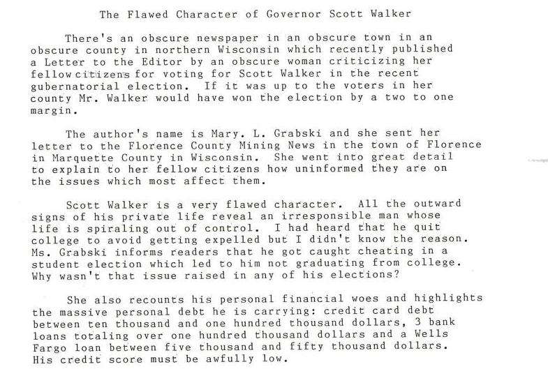 The Flawed Character of Governor Scott Walker
