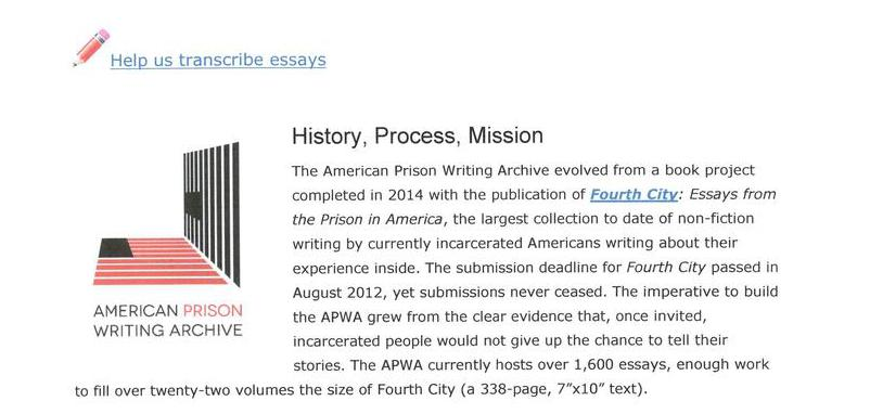 American Prison Writing Archive: History, Process, Mission