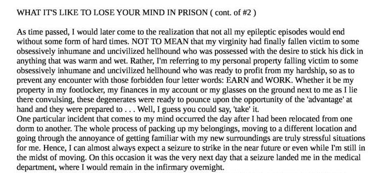 What It's like to Lose Your Mind in Prison (cont of #2)