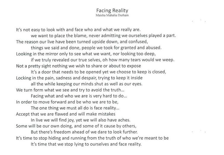 Facing Reality, and 5 more poems