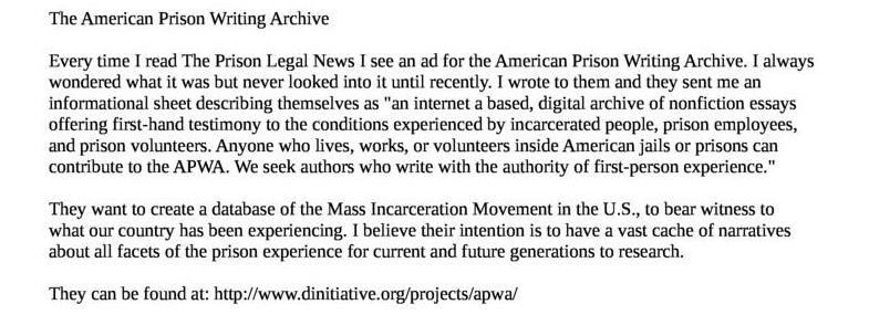 The American Prison Writing Archive