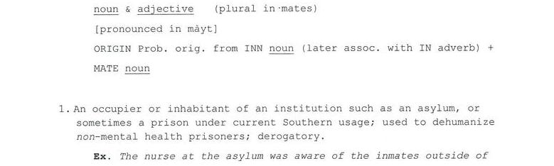 The Etymology Of Inmate
