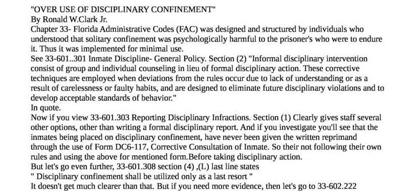 Over-use of Disciplinary Confinement