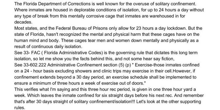 Florida's Solitary Confinement