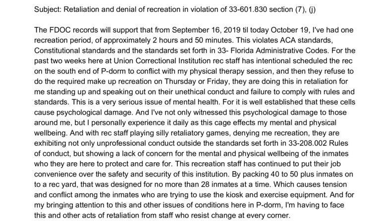Formal Complaint: Retaliation and denial of recreation