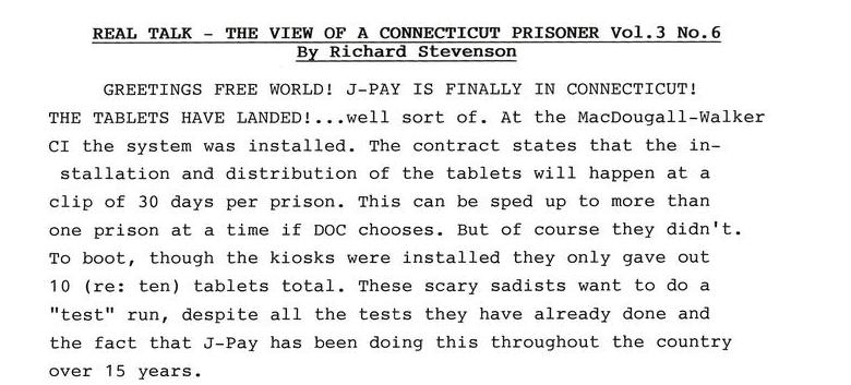 Real Talk - The View of a Connecticut Prisoner Vol. 3 No. 6