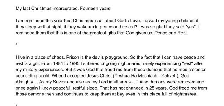 Christmas blessing in prison