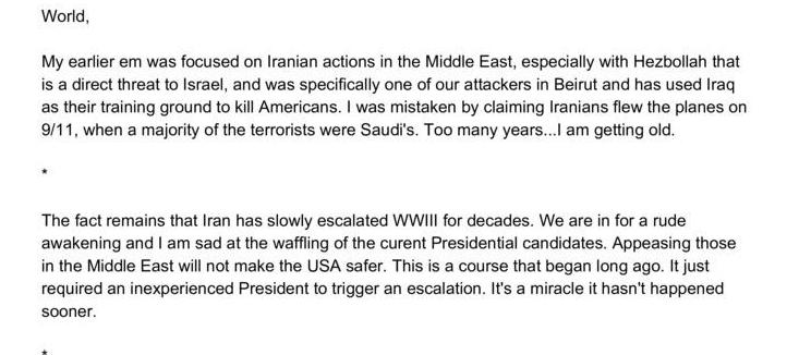 Saudi citizens, not Iranian on 9/11