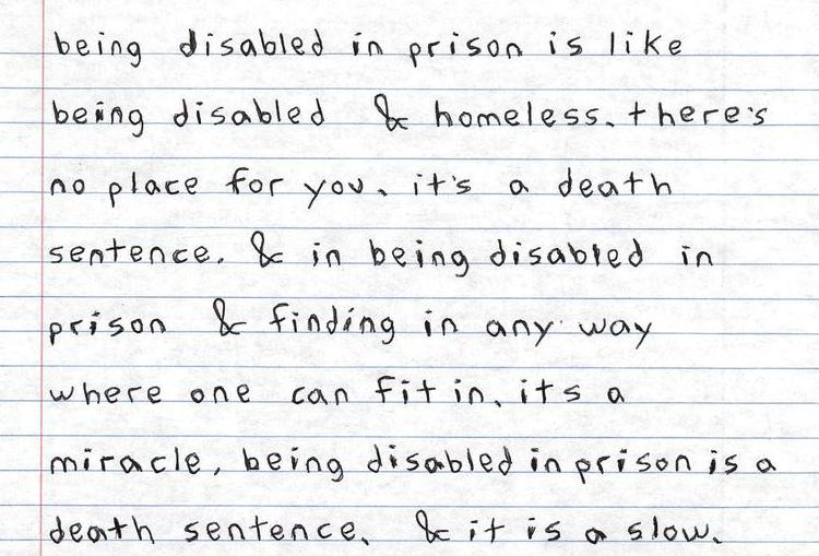 Being disabled in prison is like being disabled & homeless