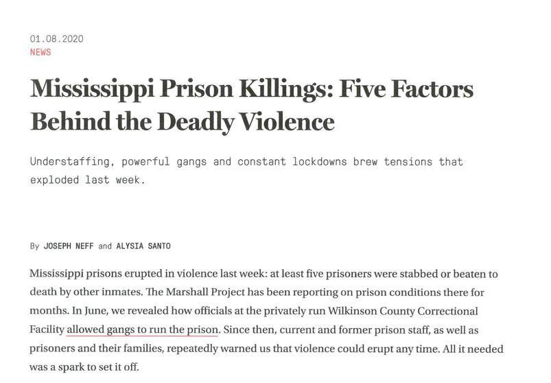 The Marshall Project: Mississippi Prison Killings: Five Factors Behind the Deadly Violence