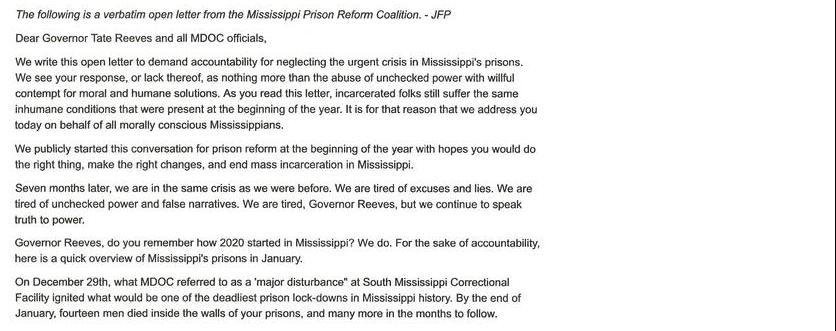 An Open Letter To Governor Tate Reeves And MDOC