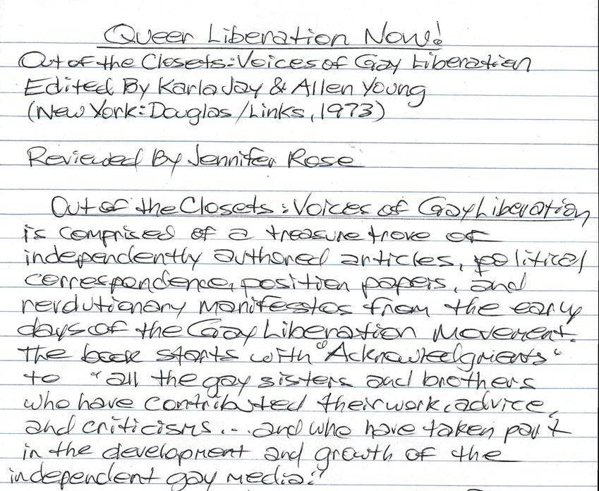 Book Review: Queer Liberation Now!