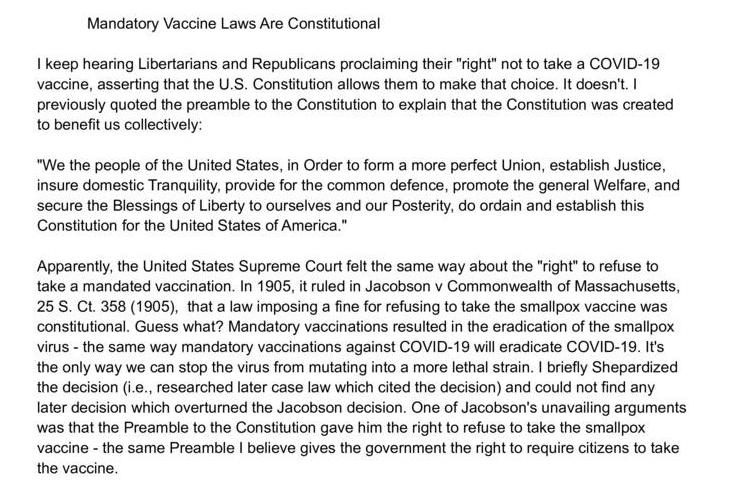 Mandatory Vaccine Laws Are Constitutional